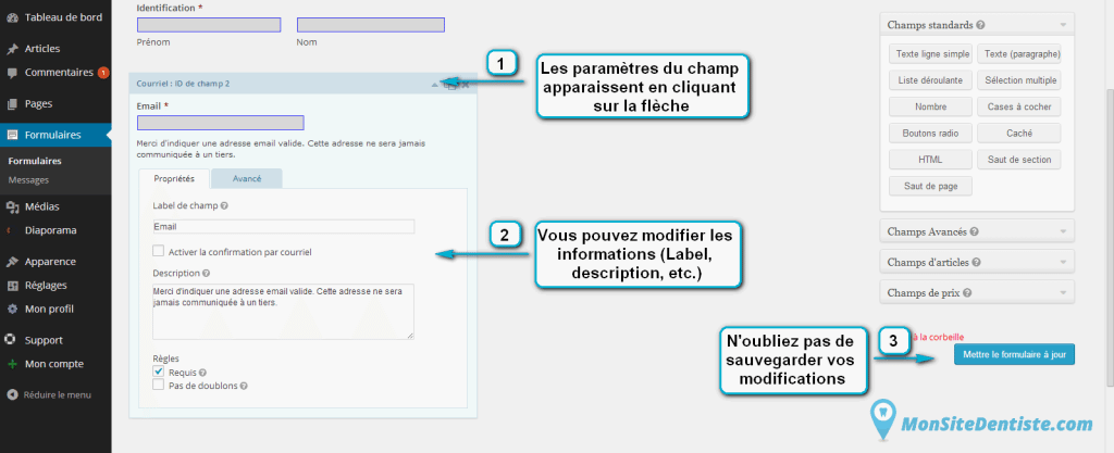 Modifiez les informations de vos champs (cliquez sur l'image pour l'agrandir).